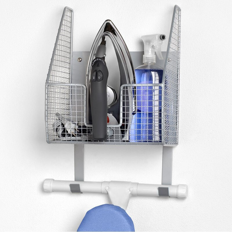 wall mount single basket with ironing board holder slx hospitality. Black Bedroom Furniture Sets. Home Design Ideas