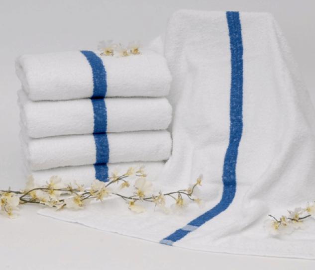 22x44 Towels: Dependability Blue Center Stripe Pool Towel 22X44